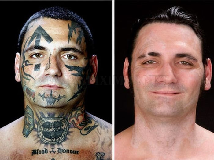 Skinhead Bryon Widner With and Without Tattoos