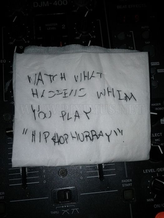 Notes & Signs Found Around the DJ Booth