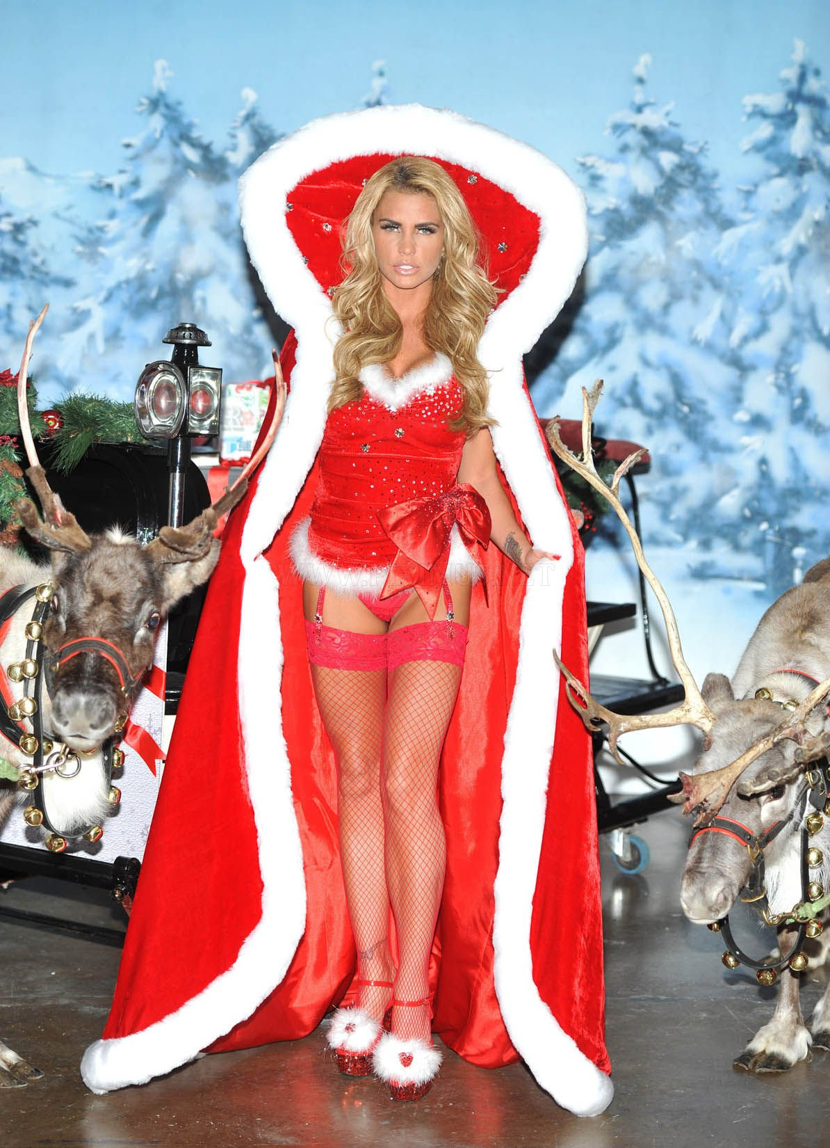 Katie Price in Christmas costume