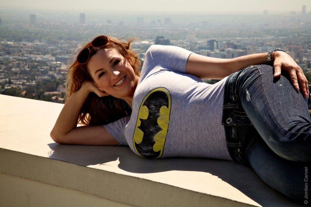 Jordan Carver in tight batman shirt