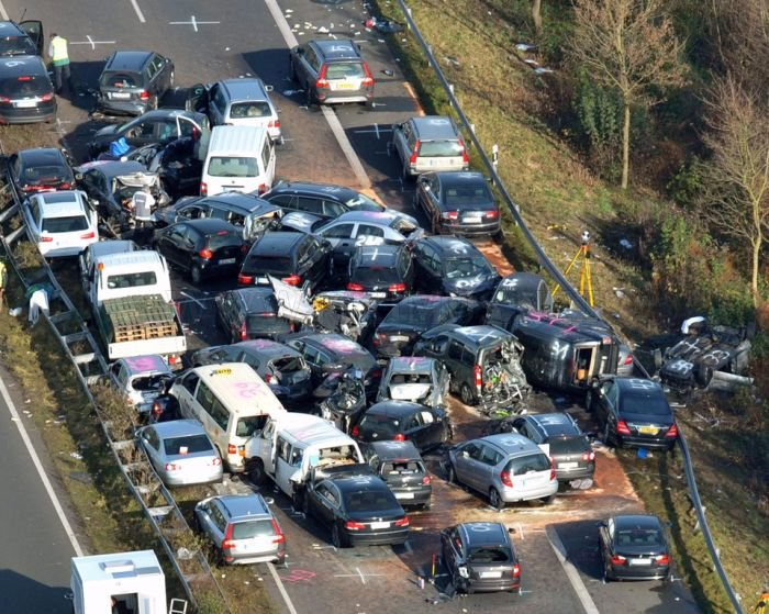 52-Vehicle Pile-up on a German Highway A31 | Vehicles