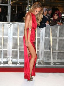 Lauren Pope in sexy red dress without sides