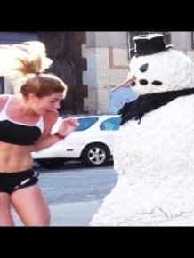 Funny Snowman Prank