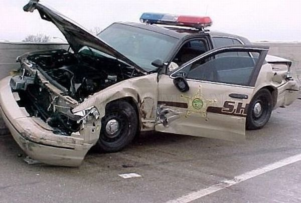 Police Car Crashes Vehicles