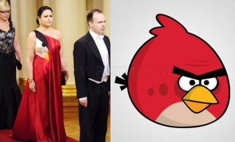 Wife of an App-Maker Wearing an Angry Birds Dress