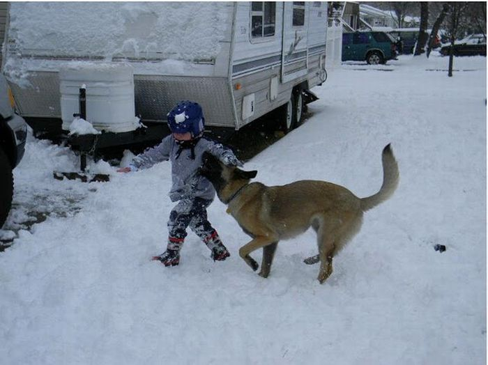 Lucas Hembree and his dog Juno