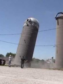 Silo Demolition by hummer