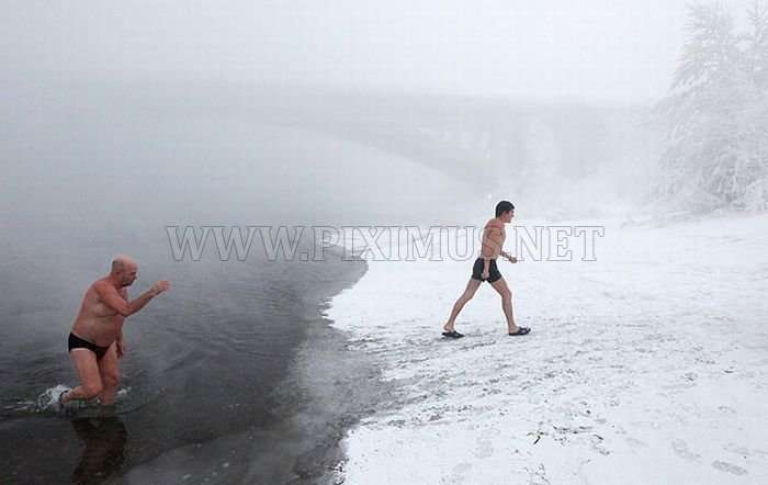 Winter swimming in Siberia