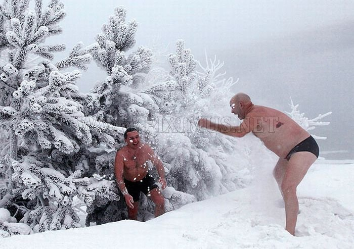 Winter swimming in Siberia