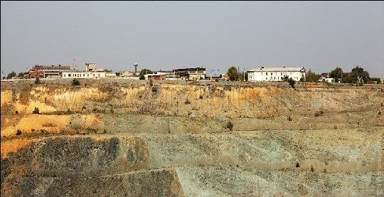 The 500 Meters Deep Open Copper-Zinc Mine in Russia