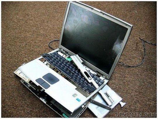 Smashed laptops