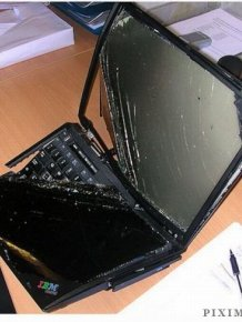 Smashed laptops