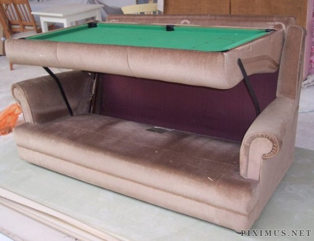 Couch turns into a snooker table