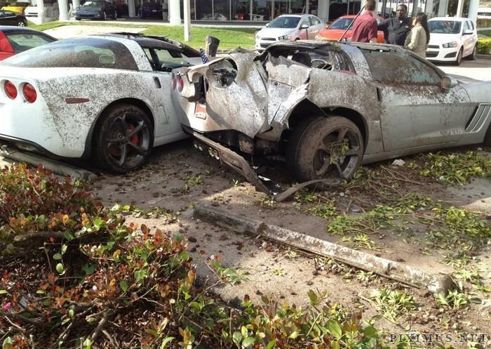 Crashed Chevrolet Corvettes