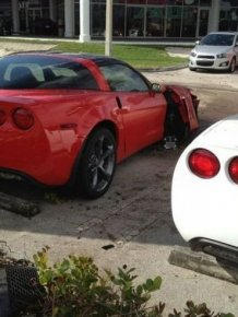 Crashed Chevrolet Corvettes