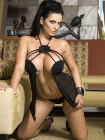 Denise Milani in black lingerie
