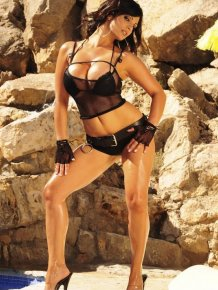 Denise Milani in sexy black lingerie