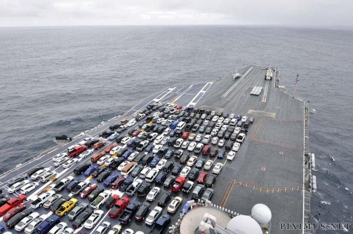 USS Ronald Reagan Transports Cars