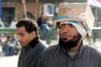 Egyptian Protesters' Makeshift Helmets