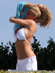 Katie Price in a White Bikini