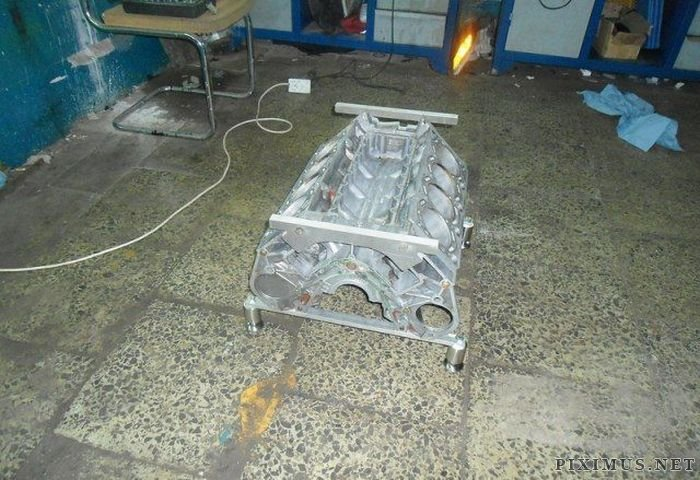 Custom V-Engine Glass Table