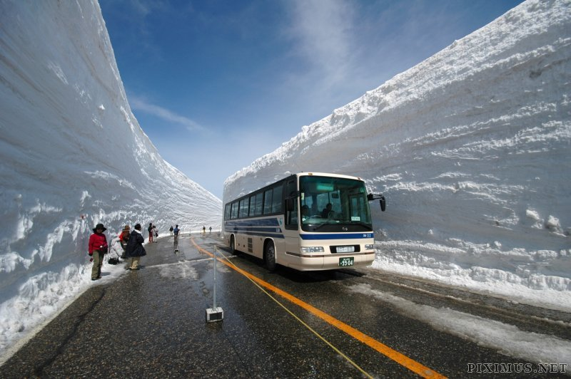 Snow canyon roads in Japan