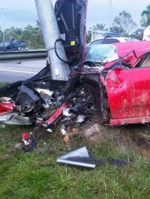 Gorgeous Red Ferrari Totaled