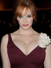 Christina Hendricks' big cleavages