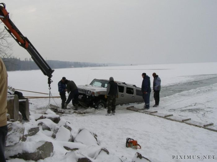 Two Hummers Got Stuck in Frozen Lake, part 2