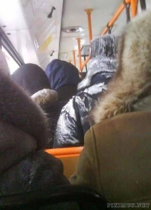 Frozen bus in Siberia