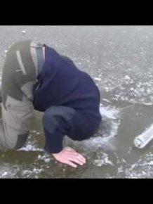 Norwegian man skates on thin ice, drinking Vodka