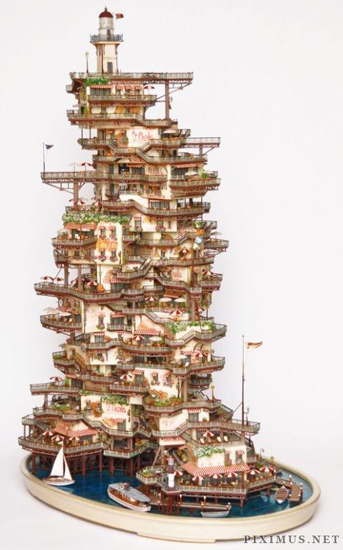 Bonsai tree houses by Tokyo sculpter Takanori Aibа