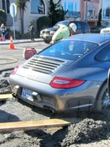 Porsche In Wet Cement