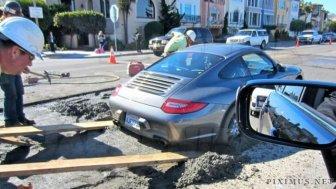 Porsche In Wet Cement