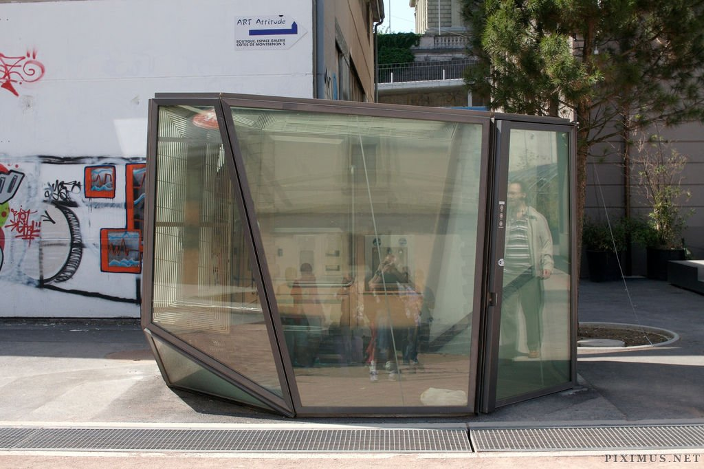 swiss public bathroom with transparent walls | fun