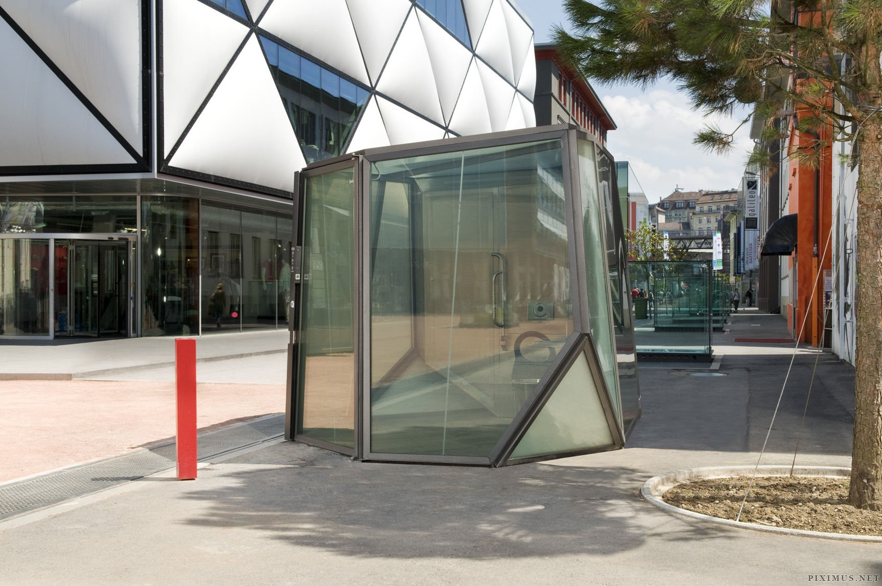 Swiss Public Bathroom with Transparent Walls