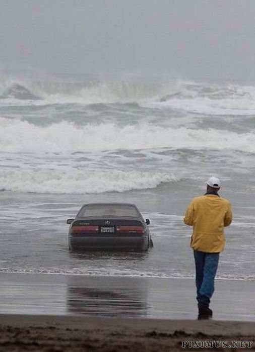 Driver Drove Her Car Into the Ocean