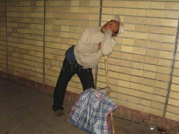 Upright Sleeping Man