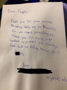 Ten Year Old Sends A Care Package To Troops In Search Of ISIS