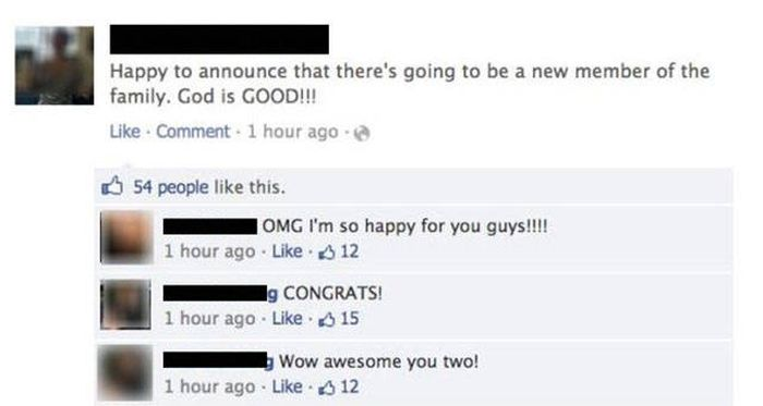 Facebook Pregnancy Announcement Ends With An Awkward Twist