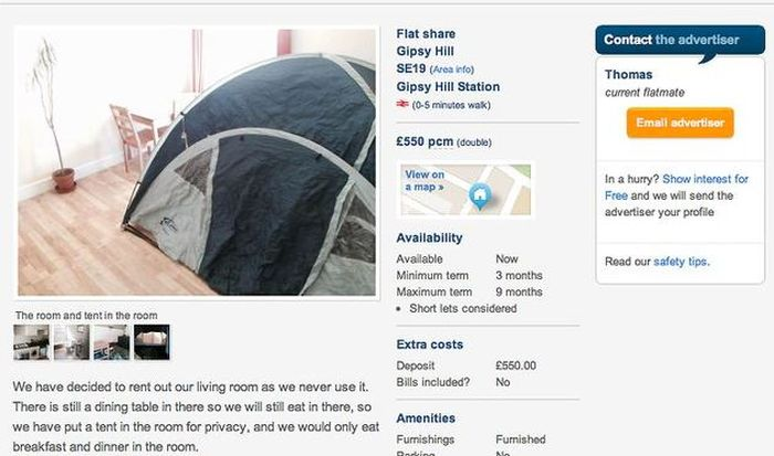 You Can Now Rent A Furnished Tent In London For Under £650 A Month