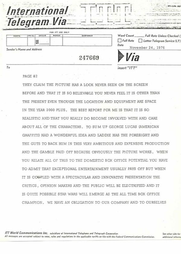 Old Memo Shows A Fox Exec Predicted The Success Of Star Wars In 1976, part 1976