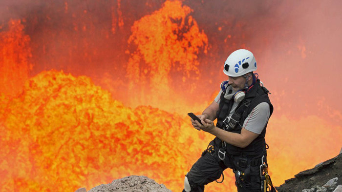 Brave Man Takes A Selfie On An Active Volcano