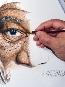Artist Spends 50 Hours Drawing A Portrait Of Morgan Freeman With Colored Pencils