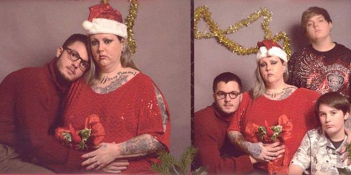 College Student Poses For Christmas Card With Fake Family To Troll His Relatives