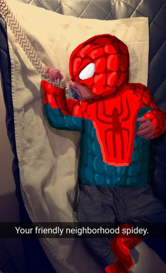 Dad Creates Epic Masterpieces By Doodling On His Baby's Snapchat Pics