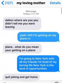Son Tricks His Mom Into Thinking He's Flying To New York City