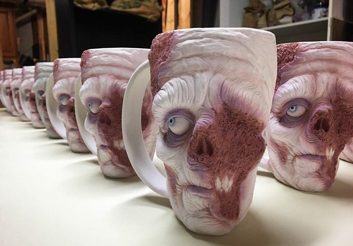 Now You Can Enjoy A Cup Of Coffee As You Drink It From A Zombie Head