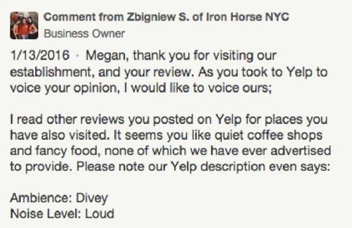 Bar Owner Has A Great Response For An Unhappy Customer On Yelp