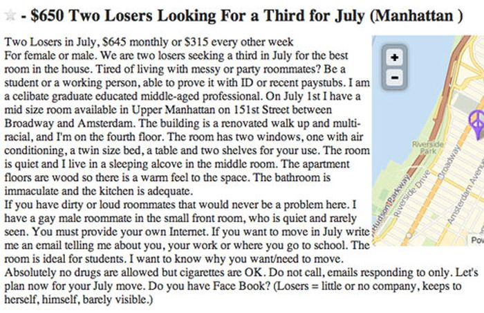 These Are The Worst Roommate Ads In The History Of Craigslist